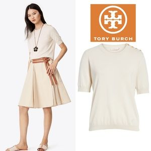 🆕TORY BURCH Cotton Sweater Ivory Knit Pullover